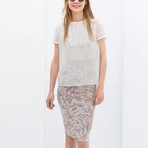 Zara Jacquard Pencil Skirt, Size Large